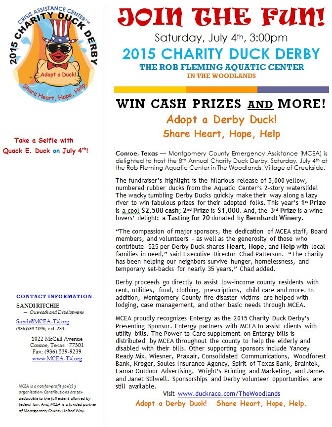 Montgomery County Emergency Assistance's Annual Charity Duck Derby