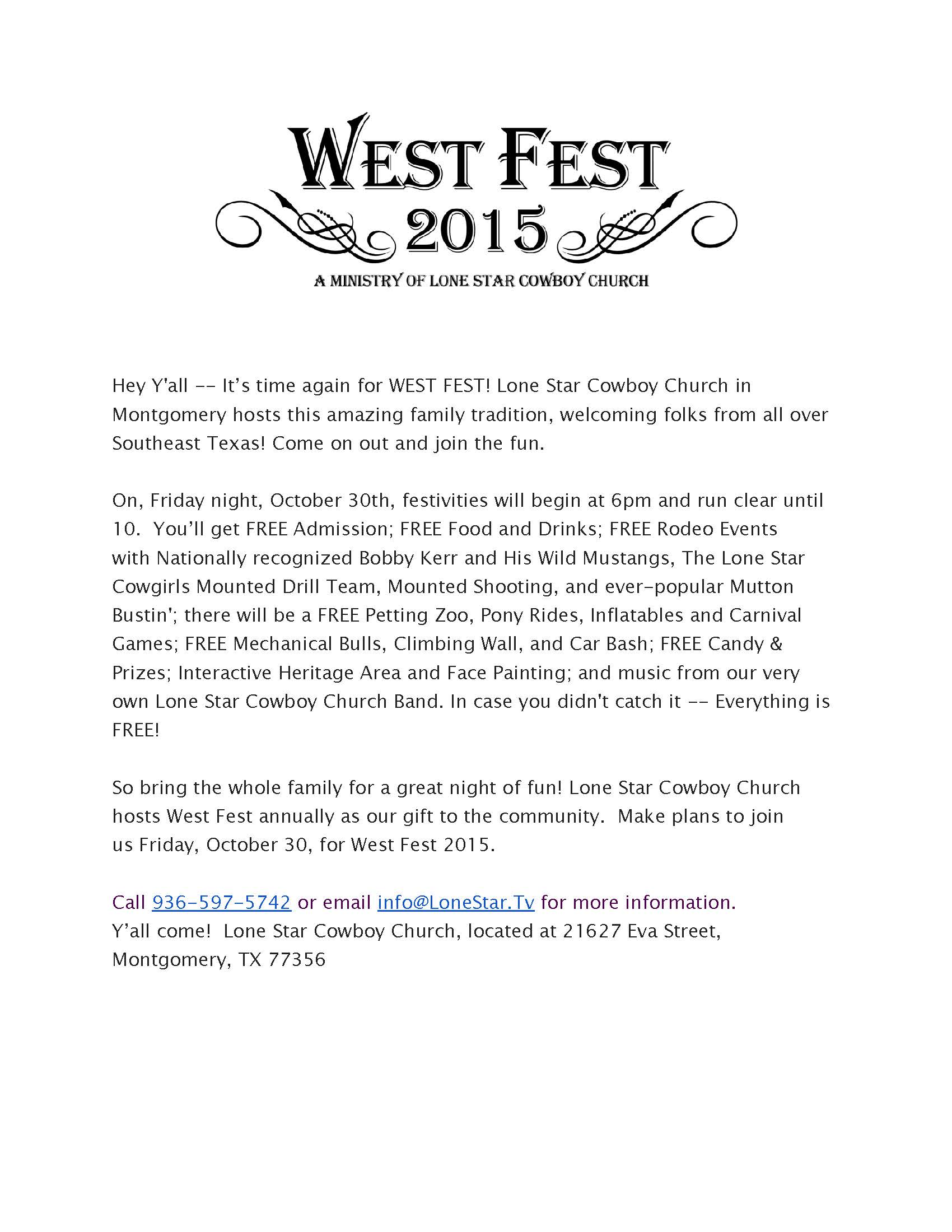 West Fest Press Flyer