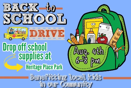 School Supply Drive Drop Off Heritage Place Park
