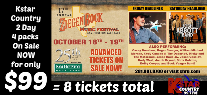 Ziegfest 2 Day 4 Packs for $99 for Kstar Country Listeners