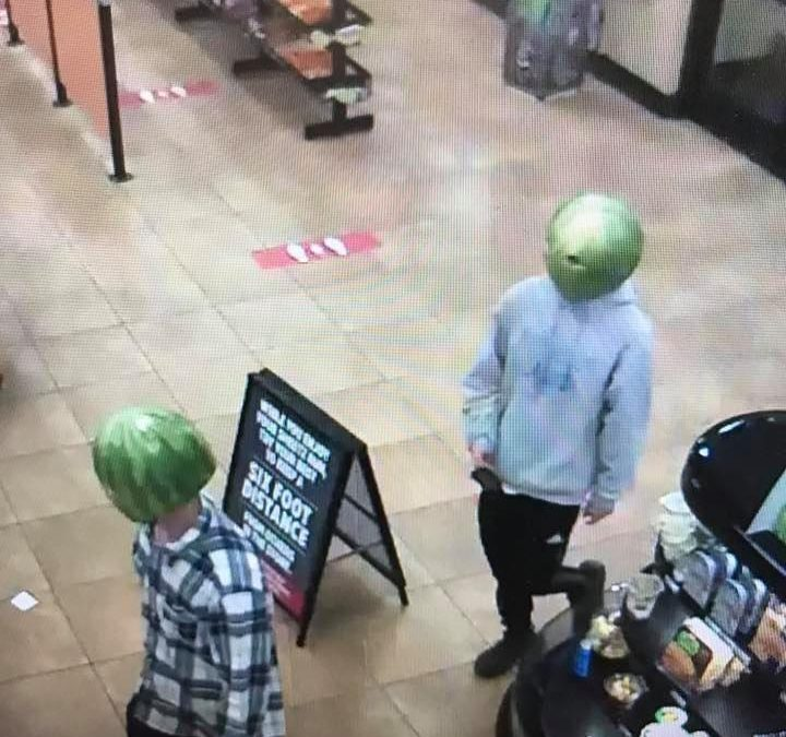 Cops Catch Someone Who Wore a Watermelon on Their Head to Rob a Convenience Store